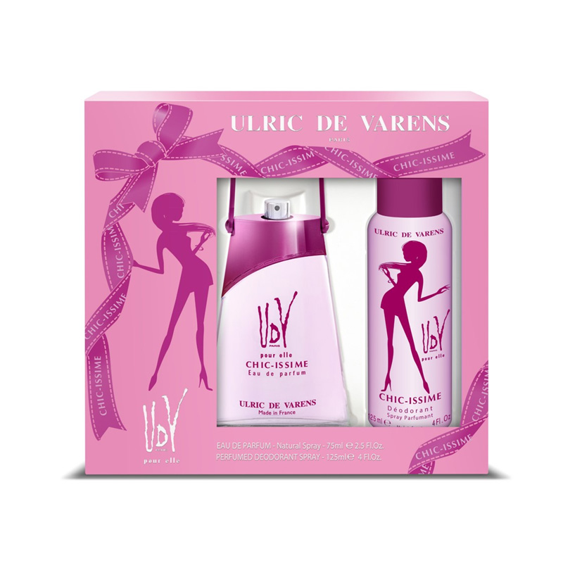 Ulric de Varens Pour Elle Chicissime Coffret – (Edp 75ml+ Deo 125ml) - Grays Home Delivery