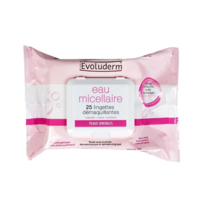 Evoluderm Micellar Water Makeup Remover Wipes For Sensitive Skins – 25 Pcs - Grays Home Delivery