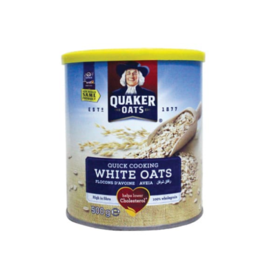 QUAKER QUICK COOKING WHITE OAT TIN – 500G - Grays Home Delivery