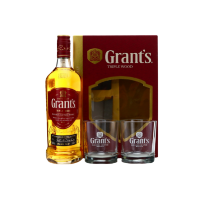 GRANTS TRIPLE WOOD – 700ML 40% GIFTPACK WITH GLASSES - Grays Home Delivery