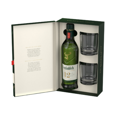 Glenfiddich 12Yo 700ml Giftpack With Glasses - Grays Home Delivery
